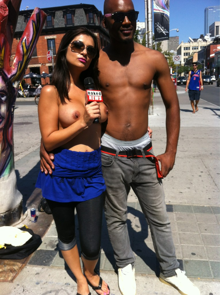 Naked news on the street