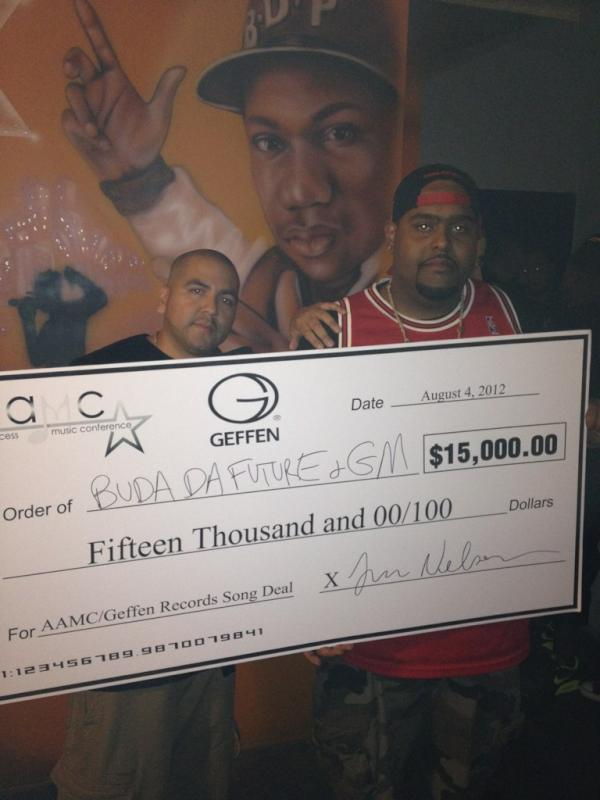 It's Official @BudaDaFuture & @Grandzmuzik taking home the 15k Geffen Song Deal!!!  #TheresOnly1AAMC http://t.co/1WGM0ek9