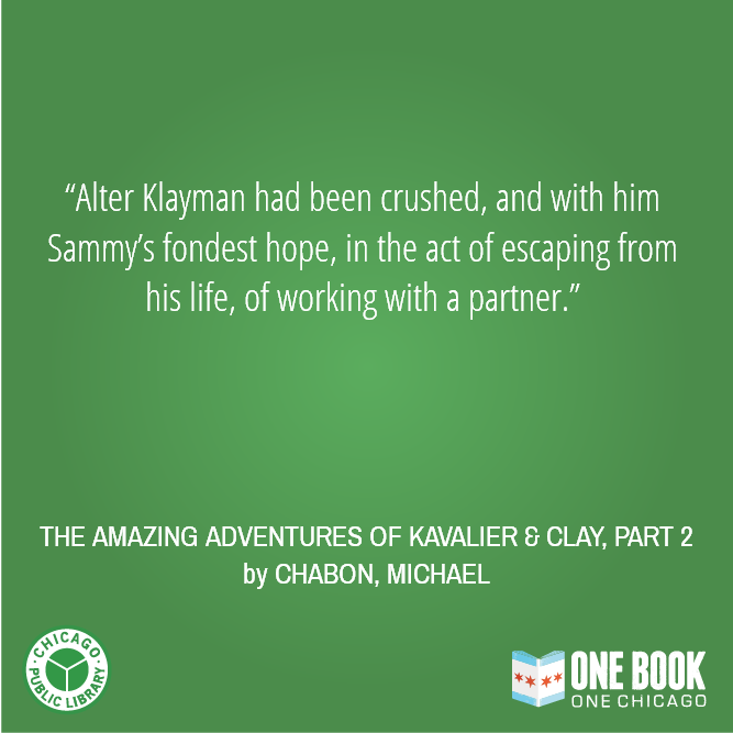 Even early on, Kavalier & Clay clearly abounds in love stories of all kinds ... #OBOC #readingsprint http://t.co/1pGo8OIZdl