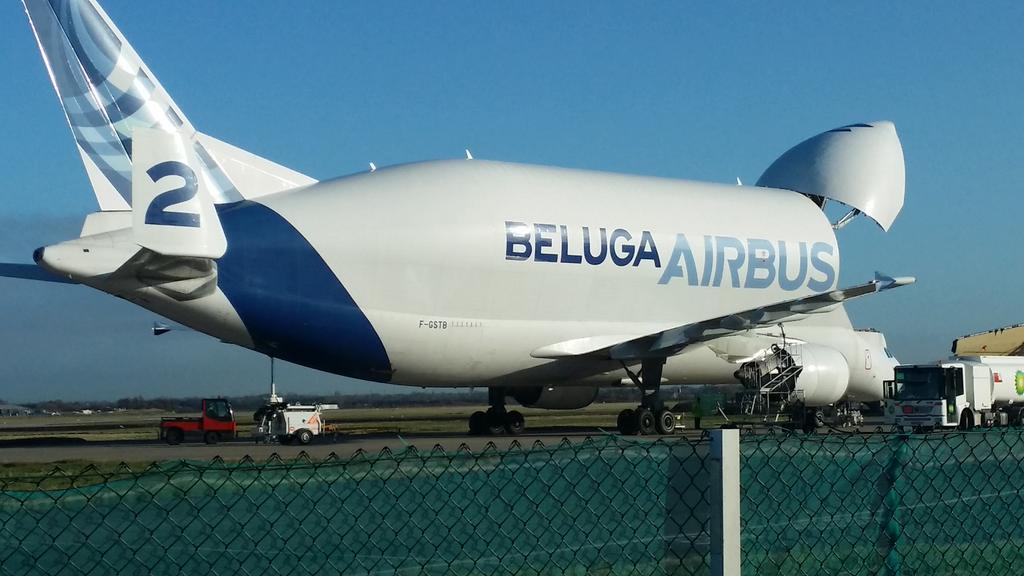 Eeeeeeeeeeeeeeek Am in heaven. First close up to the wonderful @Airbus Beluga #Broughton with blue skies x @BBCWales http://t.co/vLbDqxDH2P