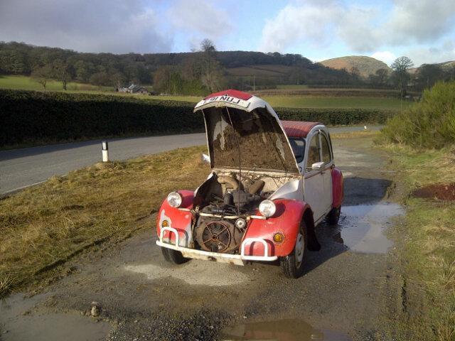 2cv bonnet up classic car