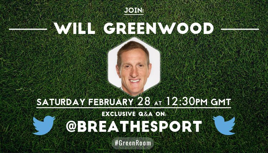 RT @WillGreenwood: 1 hour 'til I take over the @BreatheSport Twitter account for a Q&A! Get those Q's in on 6Ns, RWC, etc! #GreenRoom http:…