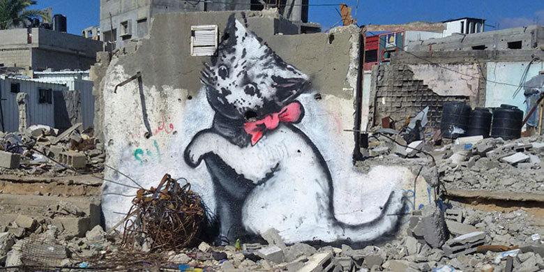 Banksy's Back And He's Been Working Undercover In Gaza Painting Giant Kittens – #Bansky http://t.co/rc8YRqVWT6 http://t.co/YSUI6OA5vM