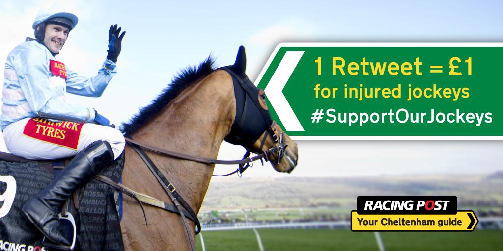 For every RT using #SupportOurJockeys we will add £1 to a fund to be donated to the @IJF_official & @InjuredJockeys http://t.co/ZqcCNlOxzE