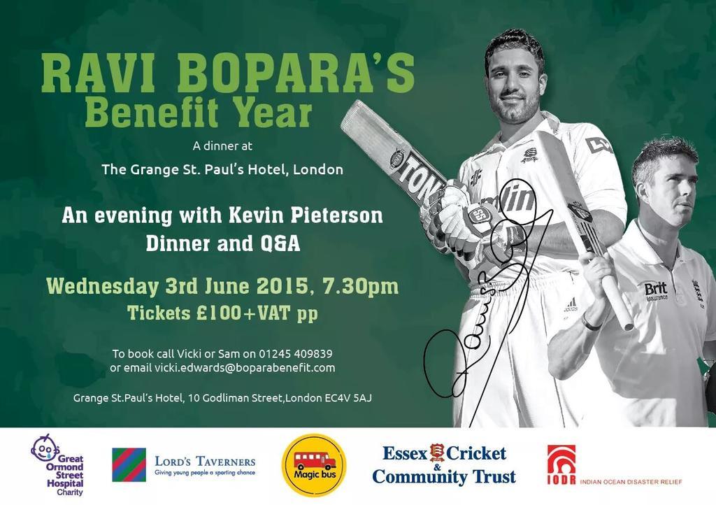 RT @ACricketAwards: Get your tickets now ! @RaviBopara's @BoparaBenefit Dinner - An evening with Kevin Pietersen .@kp24 - @GrangeHotels htt…