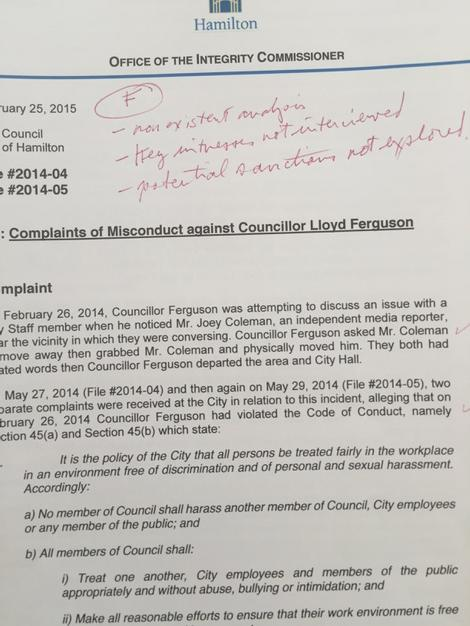 Page 1: My marked-up marking of #HamOnt IC report http://t.co/cPXLOW2xEz
