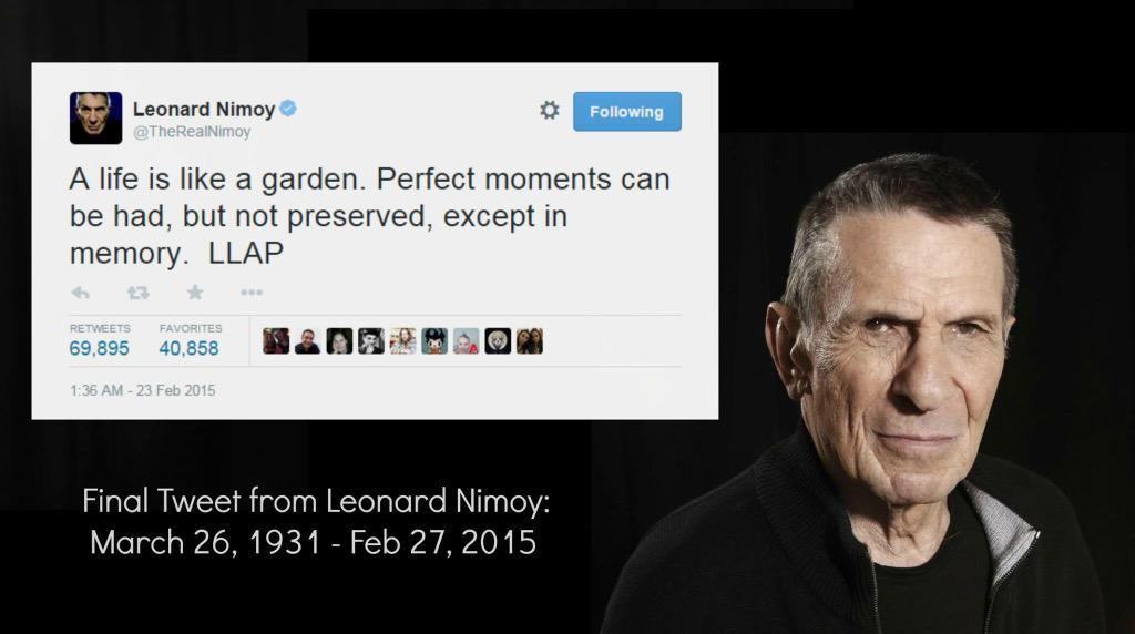 A life of art, and exploration. You will be missed, Mr. Nimoy. [Image via: https://t.co/e7bATQmvrU @QuarksQuasars] http://t.co/H93qgkJHAT