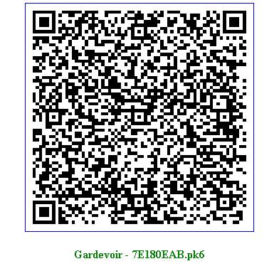 Pokemon oras shiny gardevoir qr code