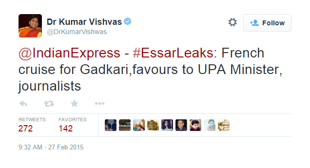 Hello @DrKumarVishwas do you have the guts to admit that @AashishKhetan is one of the journalists in #EssarLeaks!! http://t.co/JBIeHkd783