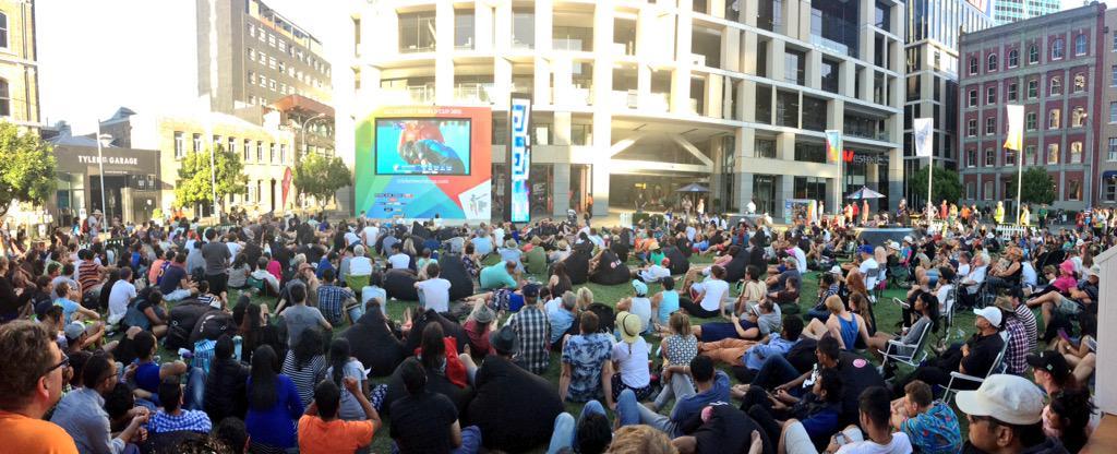 The @BritomartNZ fanzone loving this @BLACKCAPS performance #CWC15 #panorama http://t.co/qKqoOFsj5v