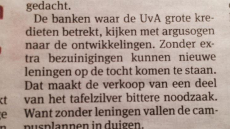 Weer een mooi voorbeeld: niet Louise Gunning bestuurt de UvA, maar 'de banken'. http://t.co/5nWxAyQ92r