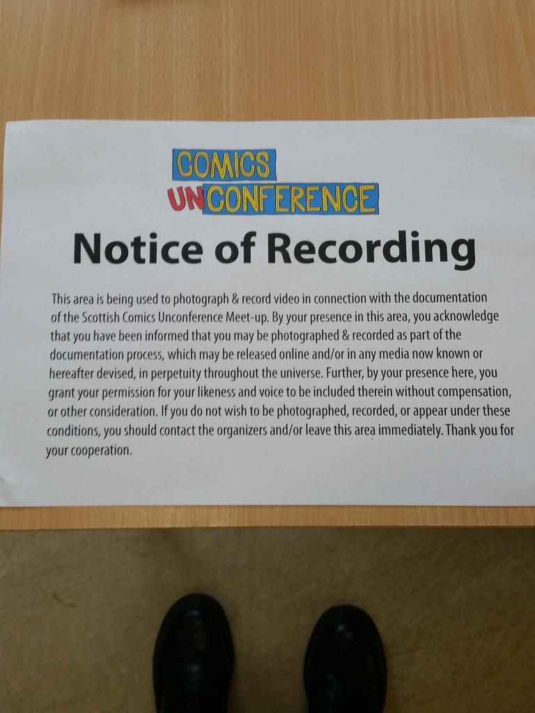 Notice of recording :) #comicsunconf15 http://t.co/gT0pRfZCi8