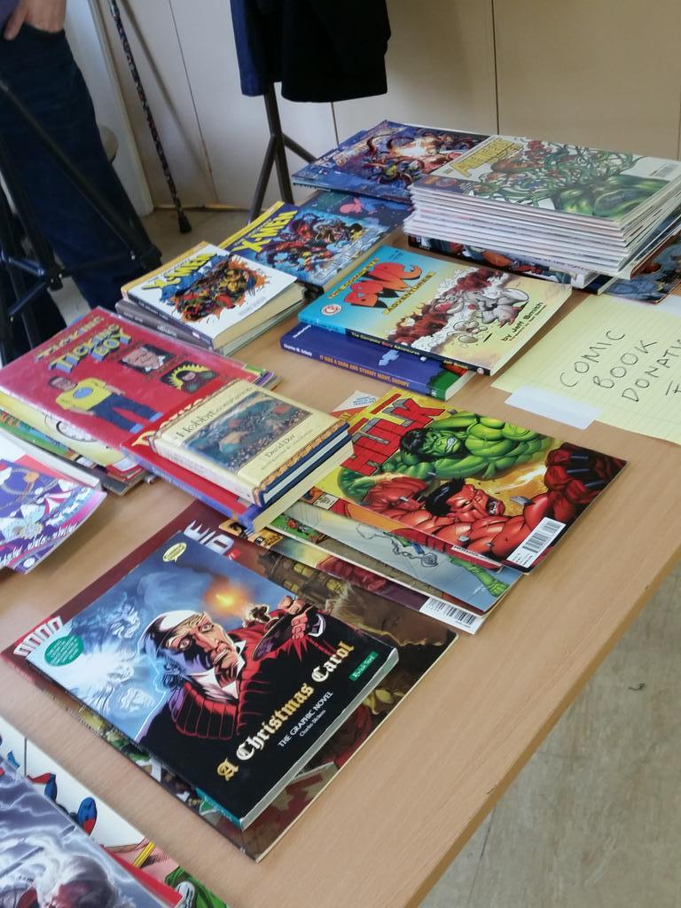 Comic book donations for @QueensCrossHA, kind supporters of @ComicsUnconf! #comicsunconf15 http://t.co/uHjxsteoXq