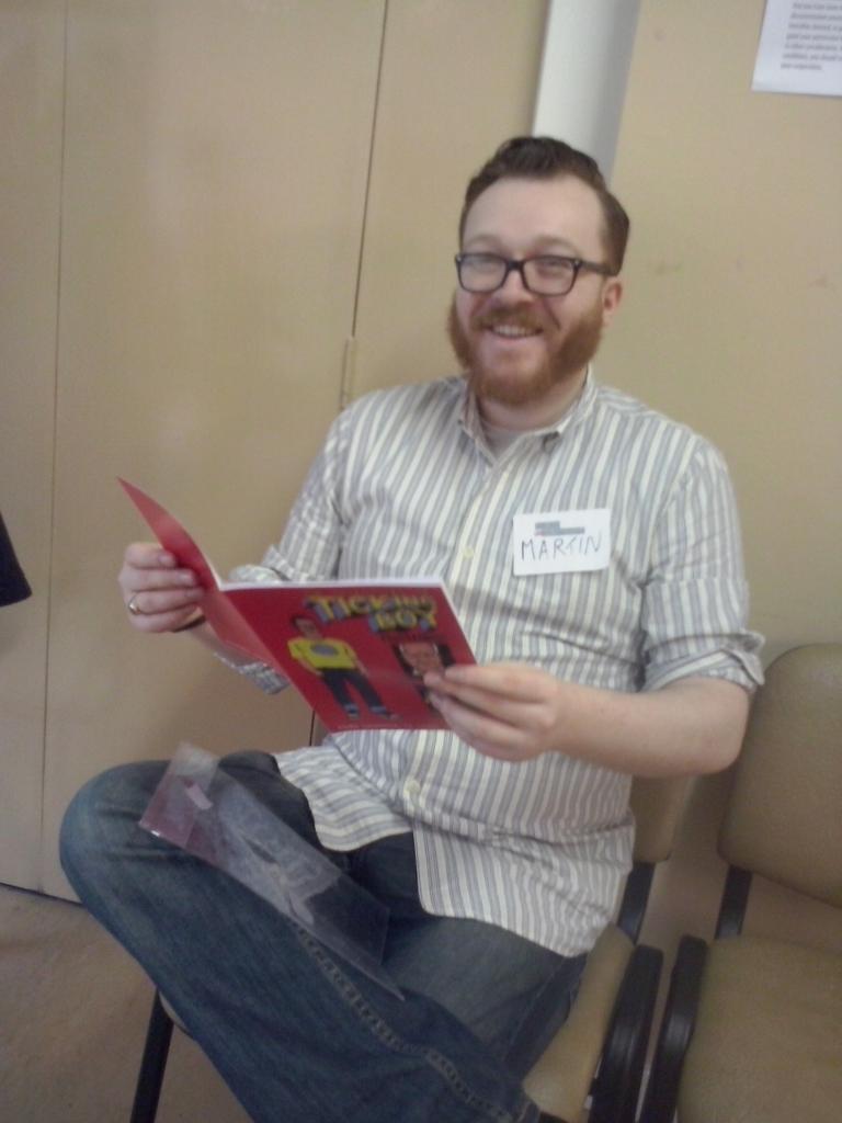 Comics can be funny @MartinDiPaola reads @tickingboy #comicsunconf15 http://t.co/D1n2lEKtdc