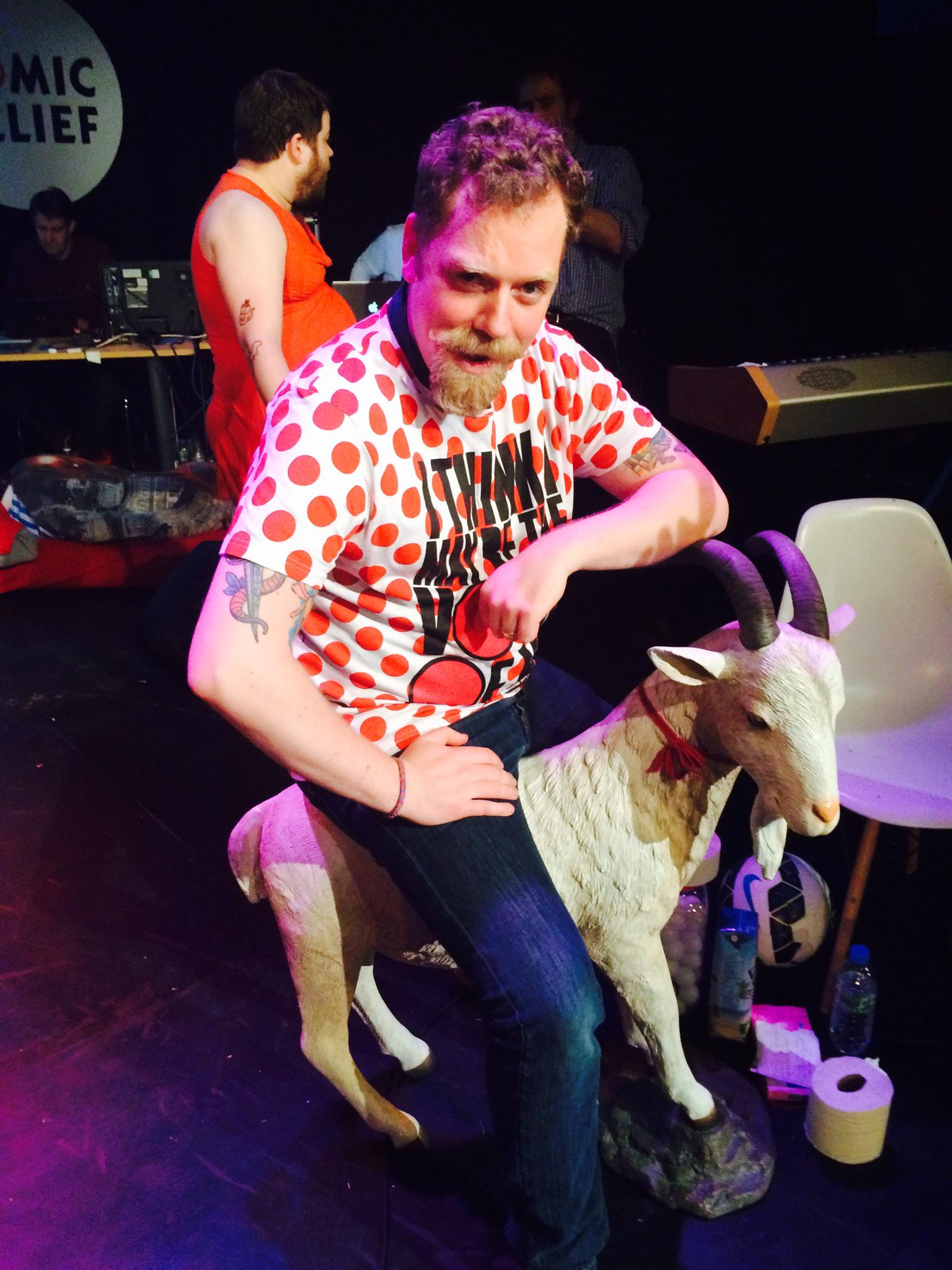 You can watch #Watson27 live on YouTube. See @RufusHound riding a goat @rednoseday http://t.co/Lmu0UGrYQB