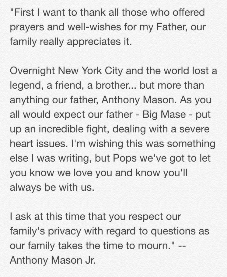 Heartbreaking to hear about the passing of former #Knicks Anthony Mason. His son @YuNgMaseJr explains more here: http://t.co/ygC9ACriWz