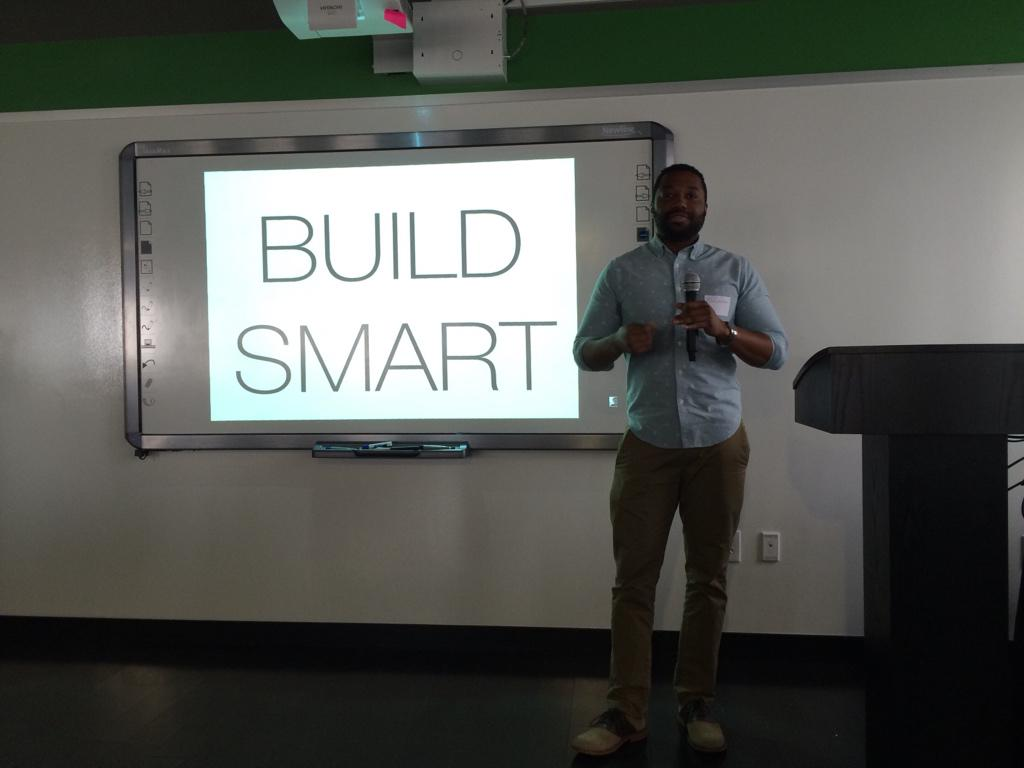 Michael presenting on Build Smart slide