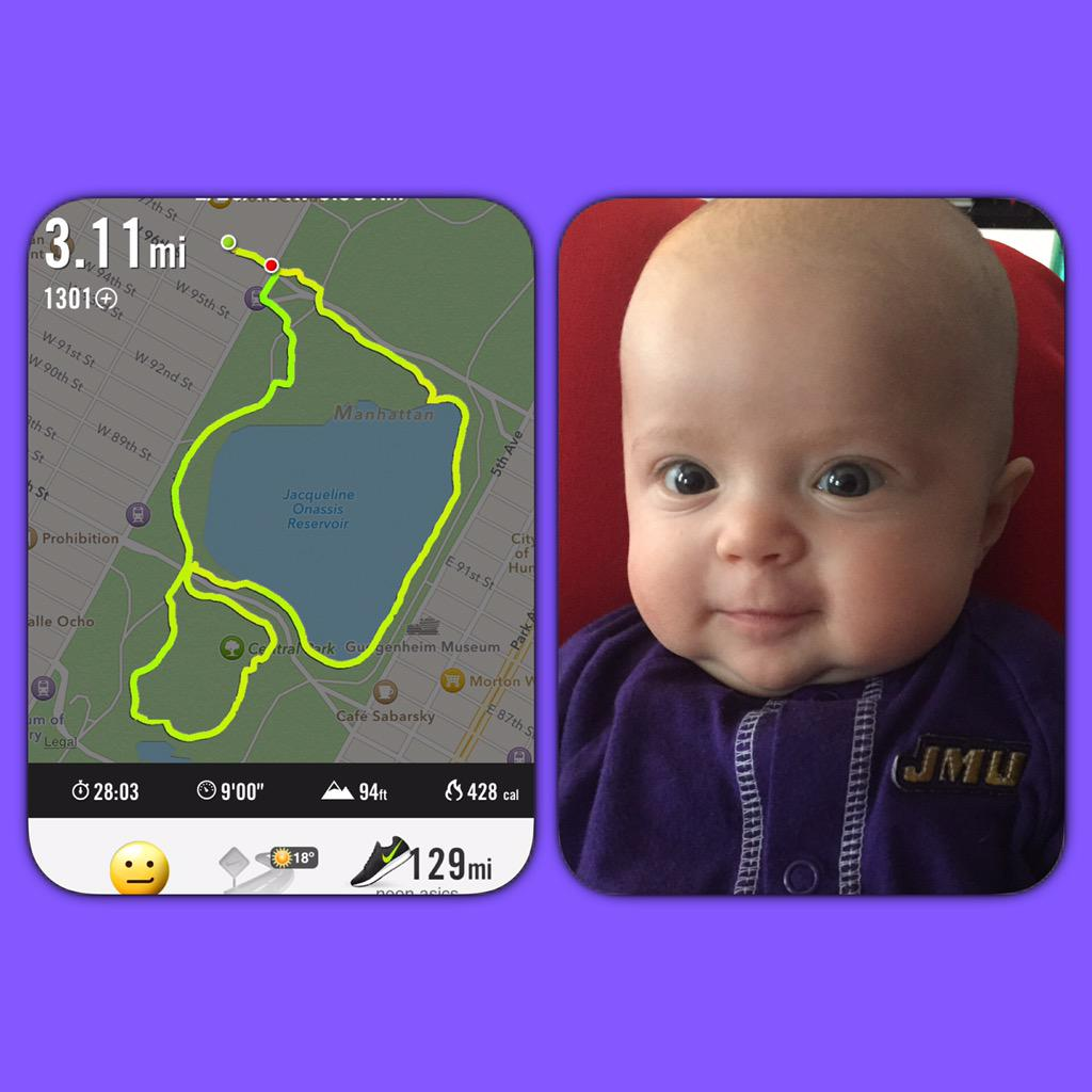 .@JMUAlumni - in honor of the #GoMad5k, I did my own 5k in Central Park and even got Madelyn in her gear #GoDukes