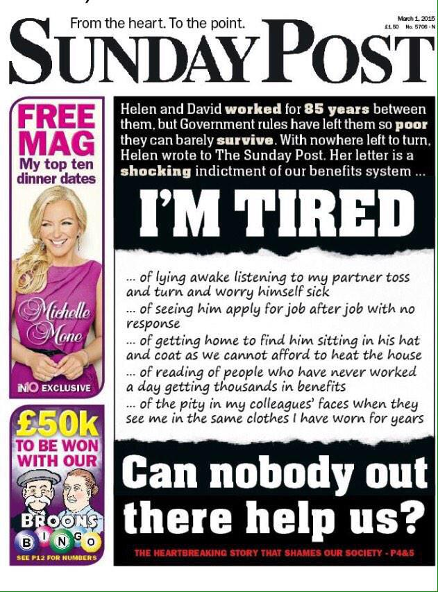 A very moving front page from the @Sunday_Post. The letter is worth reading in full. http://t.co/PqJ0WGANBe