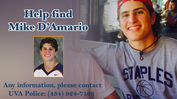 Former Nisky lax star Mike D'Amario reported missing from UVA campus. http://t.co/8HlIrofpUe http://t.co/80gZjCKzTY
