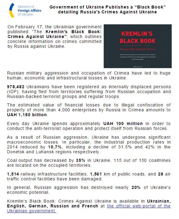 """#UkraineNewsAlert UA Government Publishes """"The Kremlin's Black Book: Crimes Against #Ukraine"""" http://t.co/ojaJelXDYn http://t.co/UOUL1We7T7"""