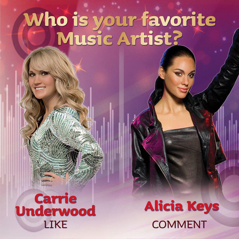 Who would you choose? RT for #CarrieUnderwood -or- FAV for #AliciaKeys.  #MusicArtists #MTNYCWax http://t.co/KrXIBcwnjo