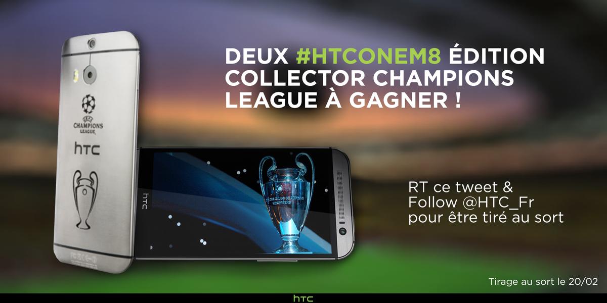 En ce soir de match, RT ce tweet et follow @HTC_Fr pour gagner un #HTCOneM8 édition limitée Champions League. #PSGCHE http://t.co/BZpoW5qoyf