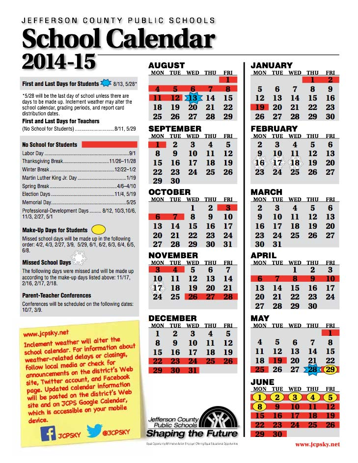 Jcps On Twitter New Calendar W School On Fri Feb 27 Mon