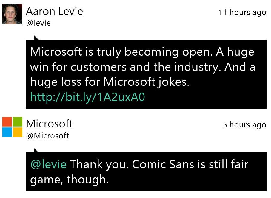 """@edbott: Whoever is running the @Microsoft Twitter account is genius. http://t.co/fBMCvRgerb"" < +1"