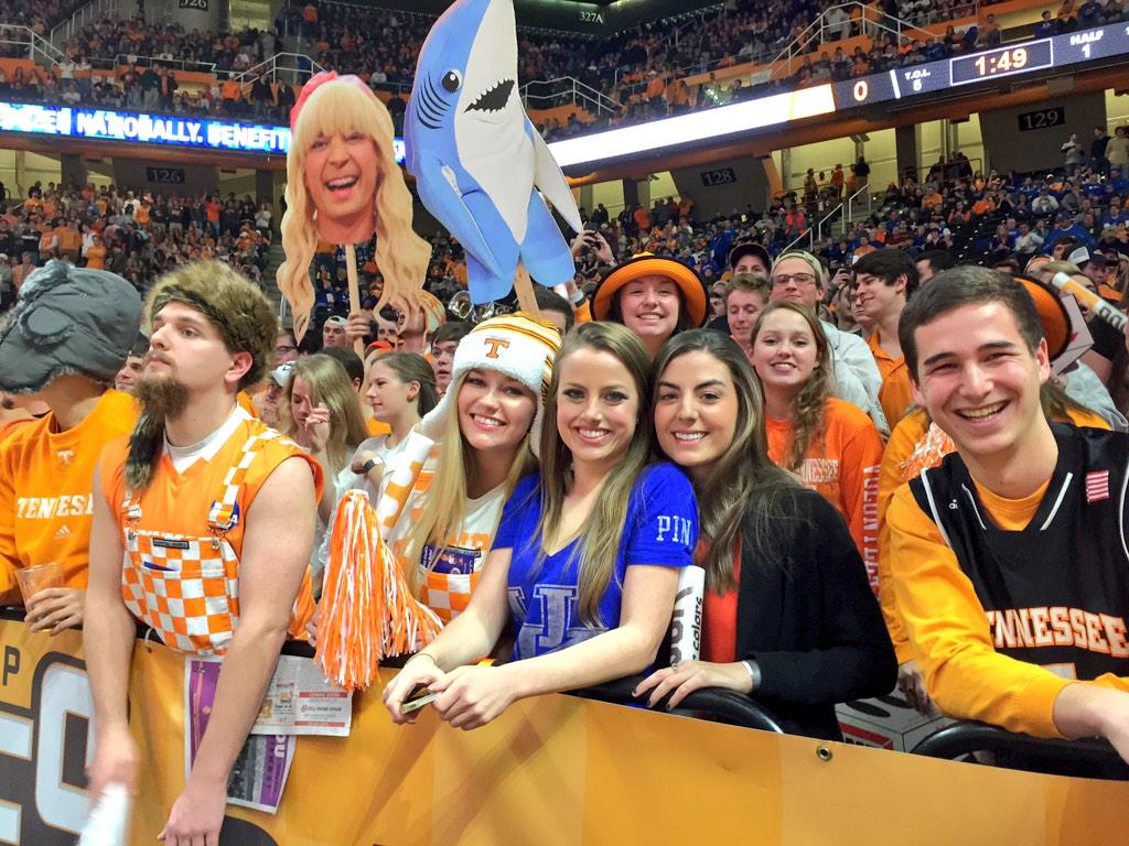 UK fan on the front row of the Tennessee student section