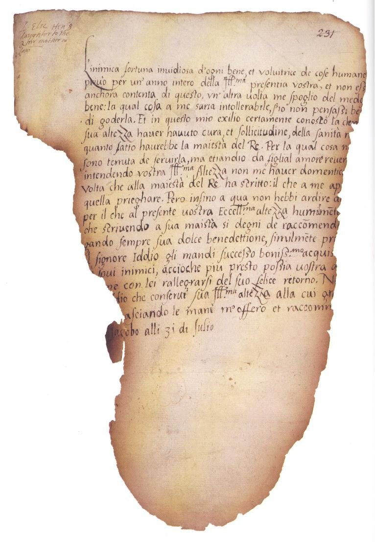 Letter: 12-year-old Elizabeth to Parr (1544), partially destroyed. I almost passed out when I handled this at the BL http://t.co/gFQyf0PSLJ