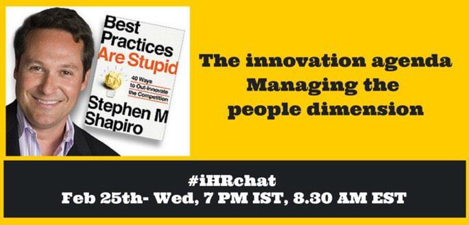 "RT""@tanvi_gautam: #ihrchat hosts @stephenshapiro and tackles innovation - the people dimension http://t.co/ZRAyZBSIkk"""