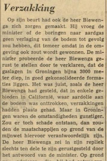 In 1962 stelde Biewenga (ARP) de 1e Kamervragen over de verwachte bodemdaling in Groningen http://t.co/CEdofV68DQ http://t.co/tNkm6HYBLk