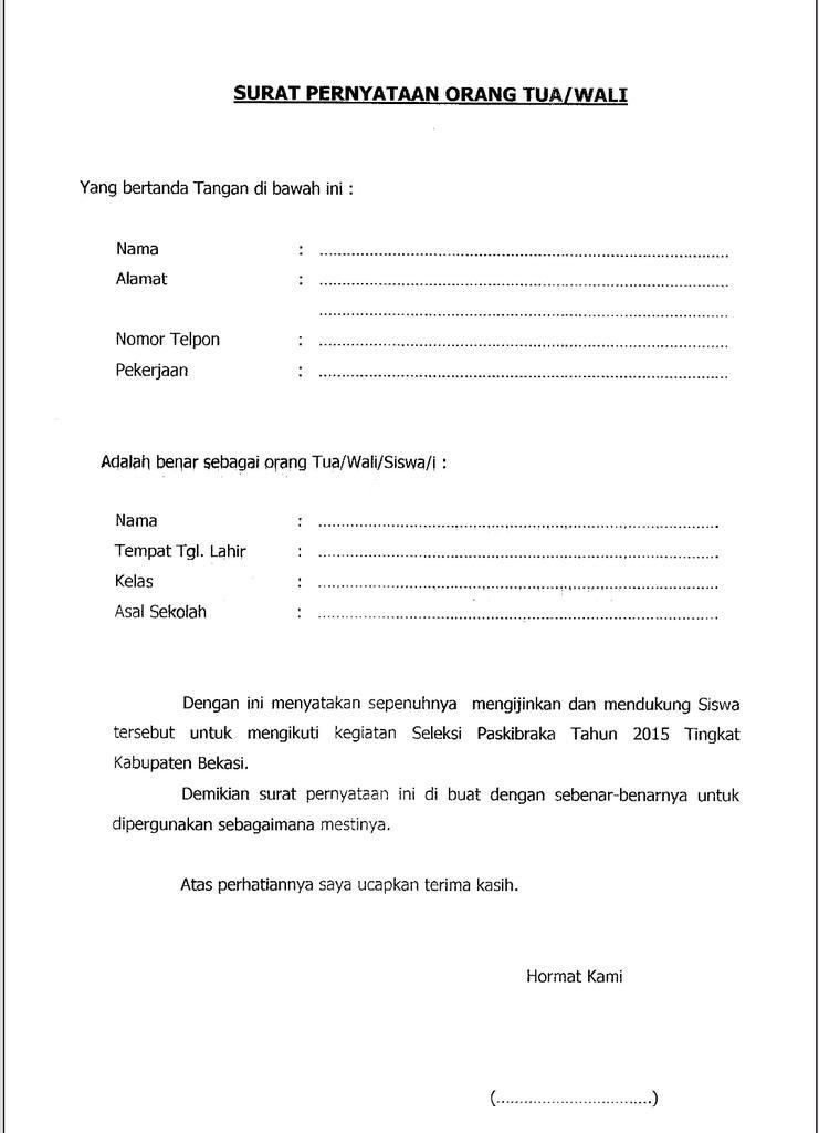 Surat Pernyataan Orang Tua Wali - Contoh Seputar Surat