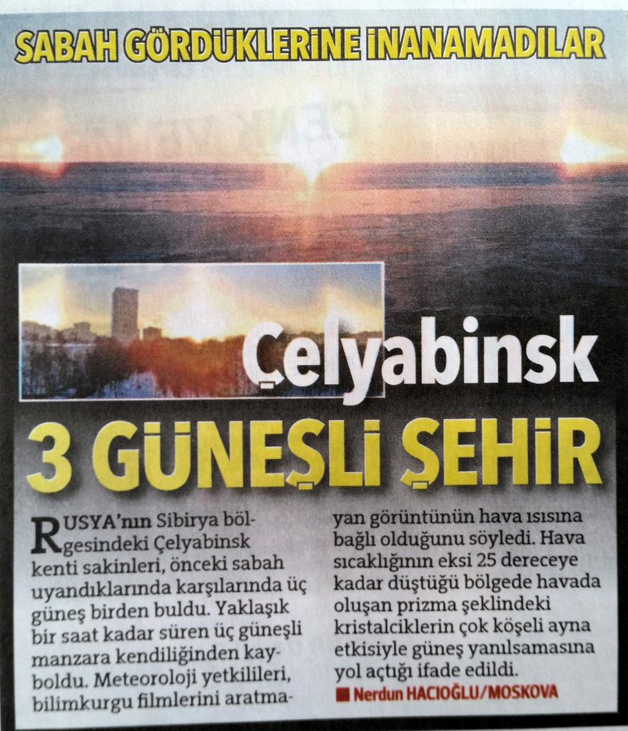 Çelyabinsk semalarında aynı anda 3 Güneş