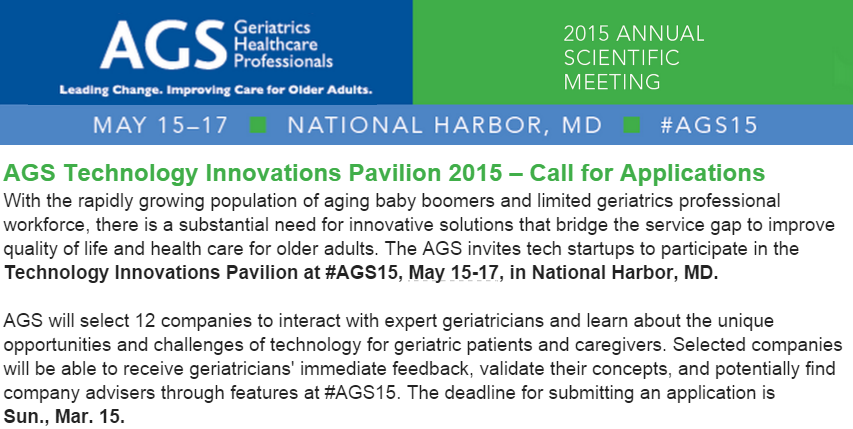 #Startups helping #elderly or #caregivers…Apply now to meet doctors at @AmerGeriatrics #AGS15: http://t.co/rrELHGV0oM http://t.co/D58imnoWz0