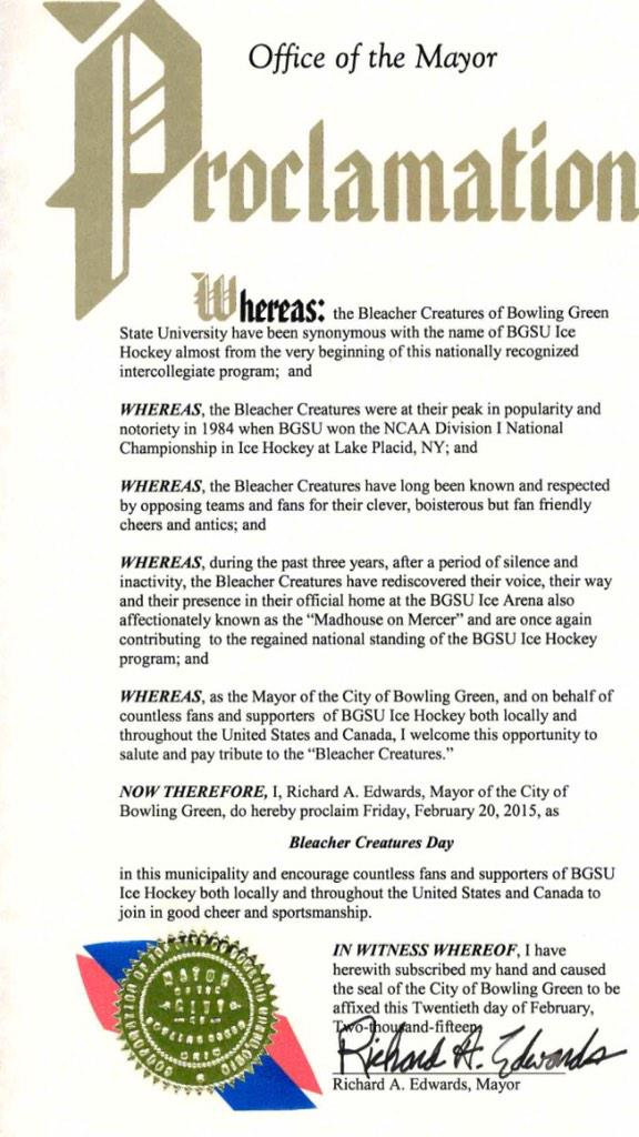 Friday is #BleacherCreatureDay in Bowling Green, OH! Thanks to Mayor Edwards and the City of Bowling Green! #TalonsUp http://t.co/Qdoq8tGmy9
