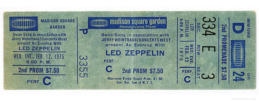 Led Zeppelin On Twitter Led Zeppelin Ticket For Madison Square Garden Concert Feb 12 1975
