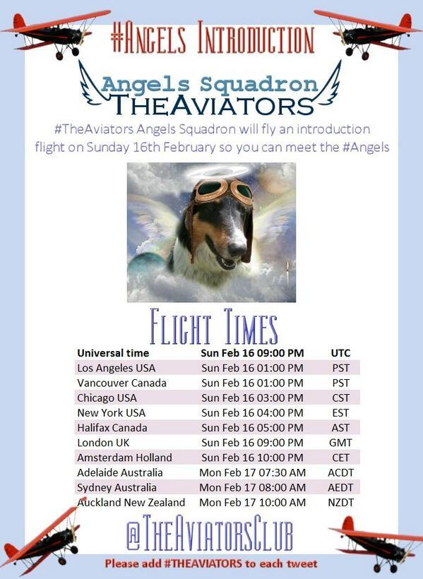 TODAY FEB 19 is #TheAviators #Angels 1st Anniversary @MundarePeggy - 16 Feb 2014 they announced via Twitter. http://t.co/p7RW1oMBIR