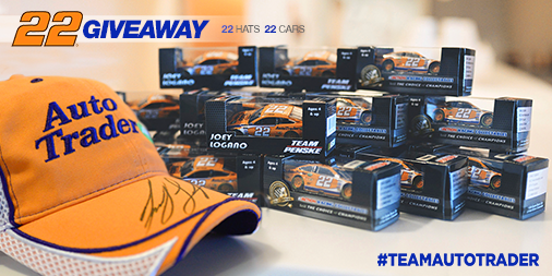 We're giving away 22 cars & signed hats by @joeylogano. RT for a chance to win yours! Rules: http://t.co/ROUJDidO3T http://t.co/2TZg62GQRl