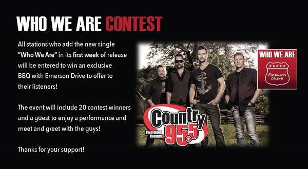 "If you like this idea of a backyard BBQ with @EmersonDrive & @country95 RT. ""Who We Are"" on iTunes & Country 95 now. http://t.co/KJBQ9b9clo"
