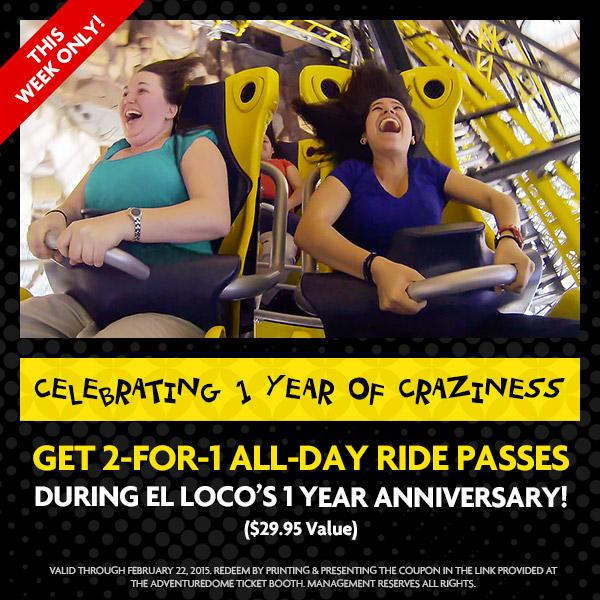 Adventuredome coupons 2 for 1 2019