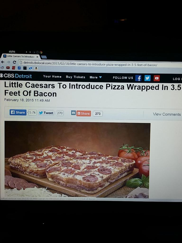 Bacon wrapped pizza! If this comes out I'm gonna be all over it #LittleCaesars http://t.co/e4jv9ocjAT