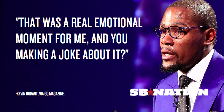 """Kevin durant doesn't appreciate your """"you the real mvp ... 