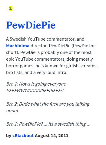 urban dictionary on twitter pewdsiepielover pewdiepie a swedish youtube commentator and machinima di http t co donvp4gg1h http t co m2xhi8n65g