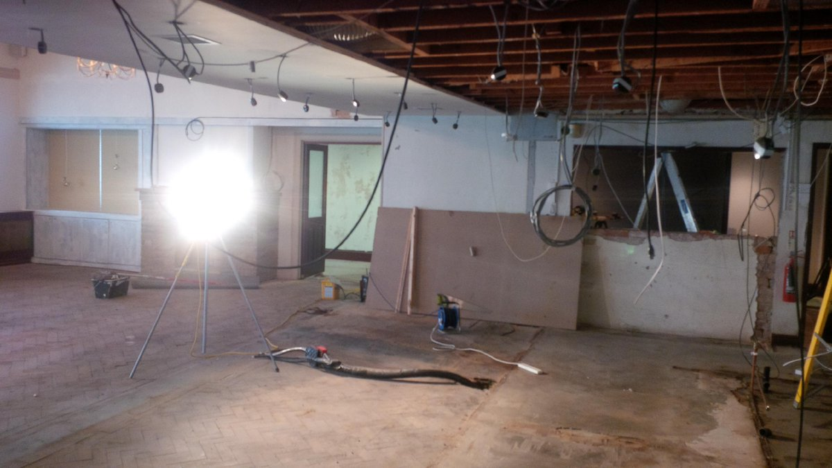 4 days in.... the bar has gone, the electrician is busy and a new sound system is already in  #progress http://t.co/TOhk0EFlw8