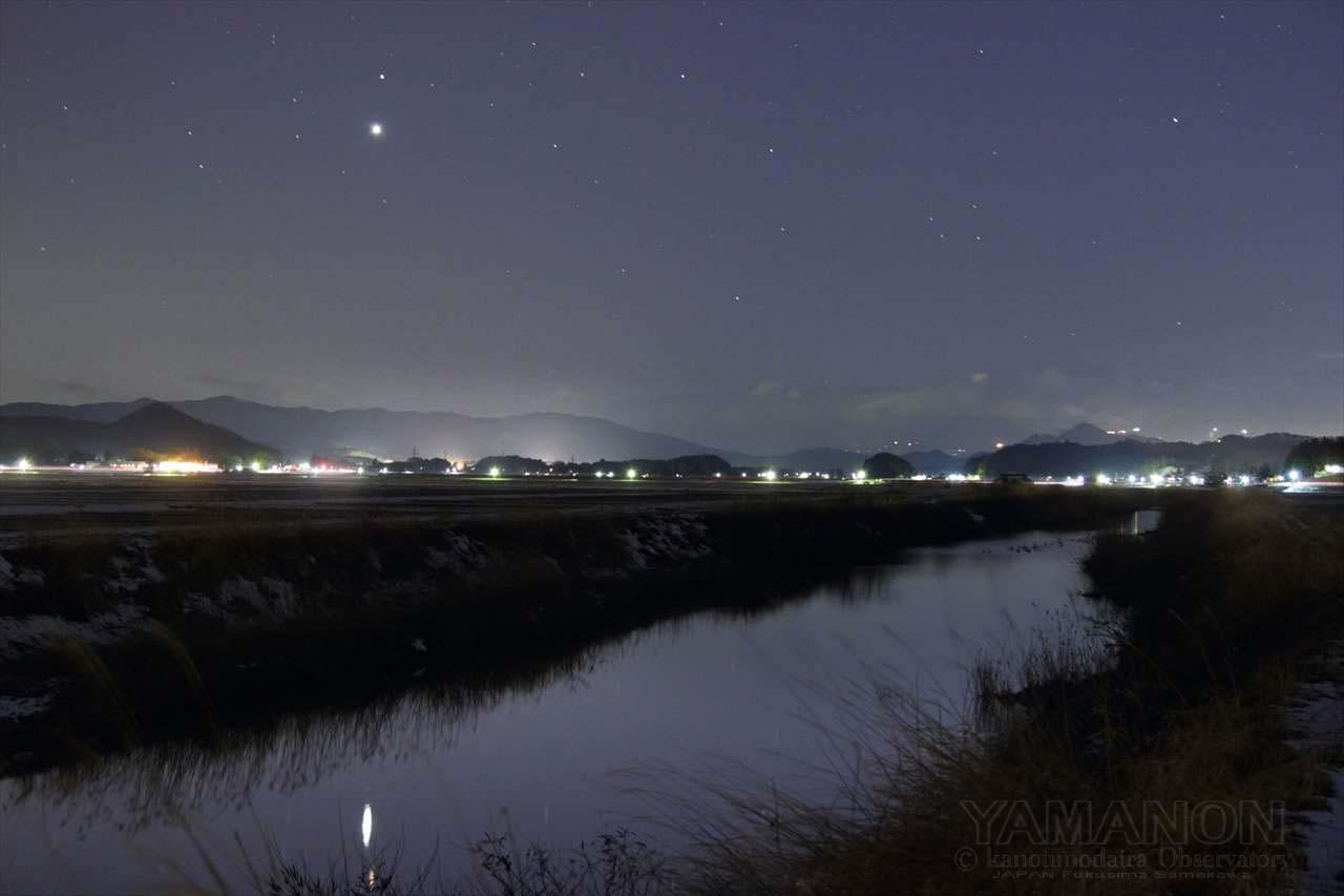 夕暮れの逆川