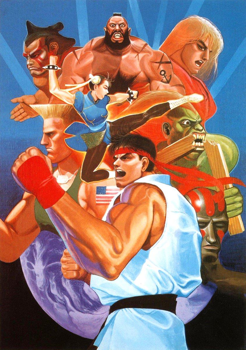 25年ぐらい前に描いたスト2のポスター、25才ぐらいですかねー。テレビでスト2ねたがあってよかったなーと思います、押切先生のハイスコアガールも応援してます pic.twitter.com/CVdQLJjuIK