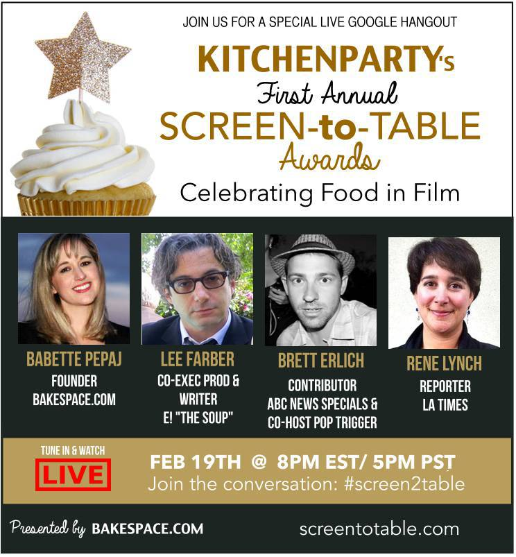 Tune In TONIGHT! First #Screen2Table Awards Celebrating food in the movies!  http://t.co/Nu5D3oyzHA #oscars http://t.co/eZHjclCugm