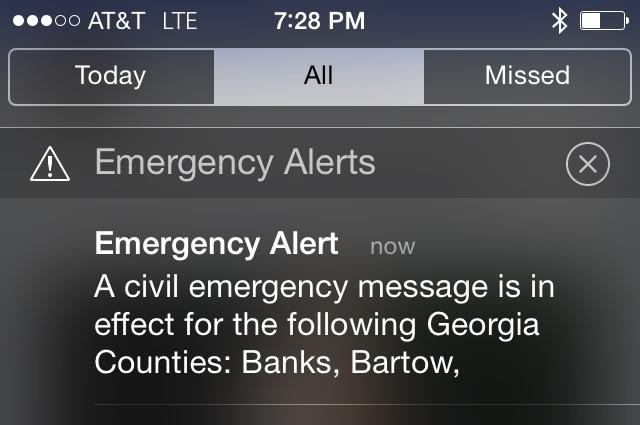 GEMA says Civil Emergency Alert was a mistake. Should have said Winter Weather Alert. Do not be alarmed.